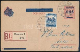 1919 Ajánlott SHS felülnyomású díjjegyes levelezőlap 25f SHS kiegészítéssel, Bodor vizsgálójellel ZEMUN