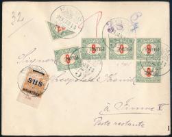 1919 Levél Susakról SHS 2f bélyeggel, majd Fiumében megportózva 5 x 6f + felezett 20f bélyeggel, Bodor vizsgálójellel
