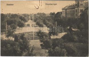 1913 Zombor, Sombor; Erzsébet liget. Kaufmann Emil kiadása / park (fl)