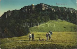 1913 Szitnya, Sitno; kirándulók. Joerges kiadása 1911 / hiking people (szakadás / tear)