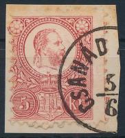 1871 Réznyomat 5kr képbe fogazott bélyeg CSANÁD (PALOTA) (Gudlin 200 pont)
