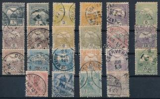 1900 Turul 19 klf érték + szinváltozatok, 4. vízjelállás (~80.000)