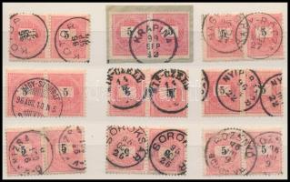 Fekete számú 9 pár szép bélyegzésekkel
