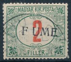 FIUME 1918 Pirosszámú portó 2f F UME felülnyomással, kézi IV. típus, Bodor vizsgálójellel. Rendkívül ritka!!