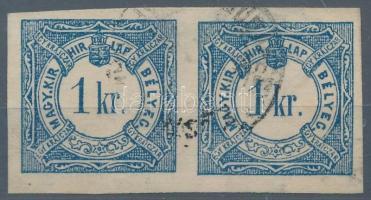 1868 Hírlapbélyeg pár a bal oldali bélyegen függőleges varrat vízjel 3-4 mm széles, igen ritka darab RRR!