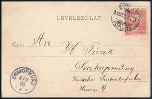 1900 Képes levelezőlap 10f bérmentesítéssel BUDAPEST / FŐPOSTA - SWAKOPMUND (Délnyugat-Afrika) ritka desztináció!