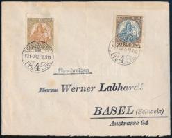 1921 okt.18 Levél Koronás Madonna 50K + 100K bérmentesítéssel, rendkívül korai BUDAPEST - Basel (Svájc)