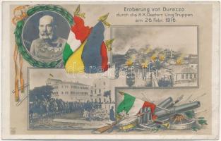 1916 Eroberung von Durazzo durch die k. u. k. Oesterr. Ung. Truppen am 26. Febr. / WWI Austro-Hungarian military, conquest of Durres, Franz Joseph. Art Nouveau (EB)