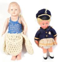 Régi német gyártmányú babák celluloid babák, 2 db, az egyik sérült, az egyik sérült, h: 19 cm és 17 cm