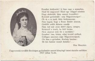 Elisabeth von Österreich-Ungarn / Erzsébet császárné és királyné (Sissi). Fegyvereink további dicsőséges győzelméért tartott könyörgő isteni tisztelet emlékére 1915. július 4-én. Kiadja a Kath. Tisztviselőnők és Női Kereskedelmi Alkalmazottak Országos Szövetsége / Empress Elisabeth of Austria (Sisi)