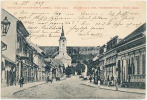 1909 Fehértemplom, Ung. Weisskirchen, Bela Crkva; Vásár utca, templom, szőlőhegy / street, church, vineyards