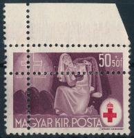 1944 Vöröskereszt (III.) 50f látványos kettős fogazással