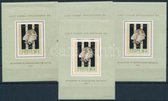 1961 Liszt Ferenc I. 4 db blokk  (törések,ráncok és apró betapadás az egyik blokkon /creases,folds and one stamp has a small gumdisturbance) (10.000)