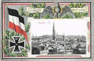 1915 Apolda i. Thüringen, Gott mit uns. Hofkunstanstalt Löffler & Co. Art Nouveau military patriotic postcard with flag
