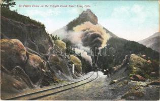 Colorado, St. Peters Dome on the Cripple Creek Short Line, railway line, locomotive