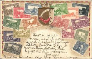 Bosnien Herzegowina / Bosznia-Hercegovina bélyegei. Szecessziós dombornyomott litho, címer / Stamps and coat of arms of Bosnia and Herzegovina. Embossed Art Nouveau litho (EK)