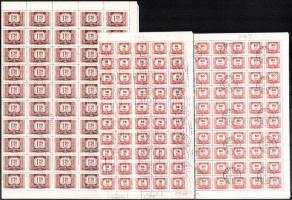 1958 Vörös-fekete portó 3 klf érték vízjellel hajtott 100-as ívekben (7.000)