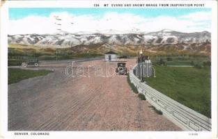 1933 Denver (Colorado), Mt. Evans and Snowy Range from Inspiration Point, automobile (EK)