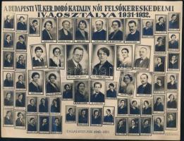 1932 Budapest, VII. ker. Dobó Katalin Felsőkereskedelmi Iskola tanárai és végzős tanulói, vintage kistabló nevesített portrékkal, a kép felületén törésvonalak, alsó szélén szakadás, 16,5x22 cm