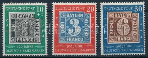 NSZK 1949 100 éves a német bélyeg Mi 113-115 (Mi EUR 100.-)