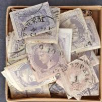 Kb 100 db 1867-es Hírlapbélyeg osztrák és magyar bélyegzésekkel kis dobozban ömlesztve