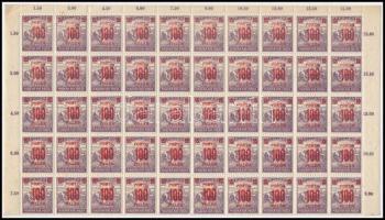 1921/1925 Kisegítő portó 100f/15f 2 db 50-es fél ívben (7.000) (törések, fogelválások / folds, aparted perfs.)