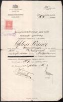 1910 Bp., szolgálatkötelezettség alól való mentesítő igazolvány, szakadásokkal