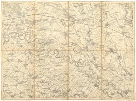 cca 1890 Szempc és Tallós környékének katonai térképe. Vászon. 52x39 cm