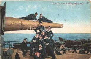 1915 An Bord SMS Erzherzog Ferdinand Max. K.u.K. Kriegsmarine Matrosen / SMS Erzherzog Ferdinand Max az Osztrák-Magyar Haditengerészet Erzherzog-osztályú pre-dreadnought csatahajója, matrózok a 24-es ágyúcsövön. G. Fano 1914/15. No. 55. / Austro-Hungarian Navy, mariners of SMS Erzherzog Ferdinand Max + S.M. Boot 58 T (fl)