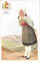 Kärnten / Carinthia / Osztrák népviselet és címer / Austrian folklore and coat of arms. B.K.W.I. 547-20. s: Karpellus