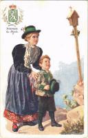 Steiermark / La Styrie / Osztrák népviselet és címer / Austrian folklore and coat of arms. B.K.W.I. 547-19. s: Karpellus (small tear / kis szakadás)