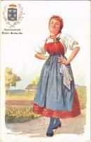 Niederösterreich / Basse Autriche / Osztrák népviselet és címer / Austrian folklore and coat of arms. B.K.W.I. 547-10. s: Karpellus (fl)