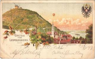 1898 (Vorläufer) Wien, Vienna, Bécs XIX. Leopoldsberg, Kahlenbergerdörfl / airship. Art Nouveau, floral, litho (EB)