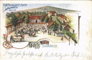 Wien, Vienna, Bécs XVII. Dornbach, Cafe Restauration u. Meierei zur Bieglerhütte / restaurant, Art Nouveau, floral
