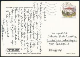 1993 Görögországból a Sikaszó panzióba küldött képeslap