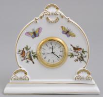 Herendi Rotschild mintás asztali óra. Kézzel festett, jelzett, hibátlan. 12,5x14 cm