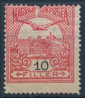 1913 Felül sérült Turul 10f elfogazva, az értékszám részleges kettős nyomatával