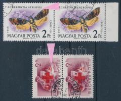 1957-1959 Vöröskereszt és Lepke párok lemezhibával (12.300) / pairs with plate variety