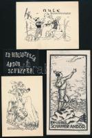 7 db ex libris, jelzéssel (pl. Radványi Román Károly) és jelzés nélkül, vegyes technika