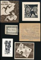 9 db ex libris (Német Nándor, Stettner Béla, Nagy Árpád, stb.), vegyes technika és méret