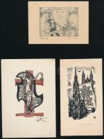 6 db ex libris és kisgrafika (Fery Antal, Stettner Béla, Bajor Ágost), vegyes technika, papír, vegyes méretben