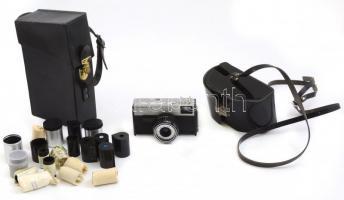 Smena SL fényképezőgép Lomo T-43 4/40 objektívvel, saját tokjával. Egy másik tokban használt filmekkel