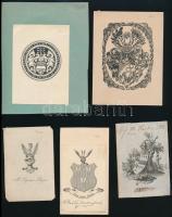 7 db régi címerrajz és ex libris, vegyes technika, papír