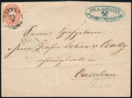 ~1861 Levél 5kr bérmentesítéssel centrált ROSNYO - KASCHAU