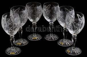 Parádi kristály boros pohár készlet hat személyes, eredeti dobozában. Hibátlan. / Paradi crystal glasses in original box 20 cm