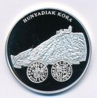 DN A magyar pénz krónikája - Hunyadiak kora Ag emlékérem tanúsítvánnyal (20g/0.999/38,61mm) T:PP