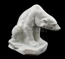 Herendi nagy méretű jegesmedve szobor. Jelzett (Markup Béla 1927), Kézzel festett, jelzett, hibátlan, m:19, h:21 cm