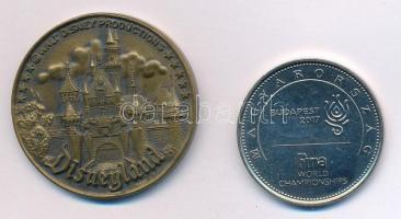 Vegyes: 2017. 50Ft Cu-Ni FINA Vizes Világbajnokság + merikai Egyesült Államok DN Disneyland Br emlékérem (35mm) T:2,1- Mixed: Hungary 2017. 50FT Cu-Ni + USA ND Disneyland Br commemorative medallion (35mm) C:XF,AU