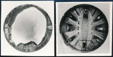 cca 1975 A 360 fokos körfényképezés illusztrációi, 2 db jelzés nélküli vintage fotó dr. Sevcsik Jenő (1899-1996) fényképész, szaktanár, szakíró hagyatékából, 8,5x8 cm