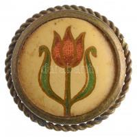 1905-1910. Tulipános Iparvédő Mozgalom litográf nyomatos jelvénye (27mm) T:2 tű nélkül